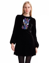 Cynthia Rowley Embroidered Velvet Bell Sleeve Dress