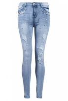 Quiz Light Blue Pearl And Diamante Jeans
