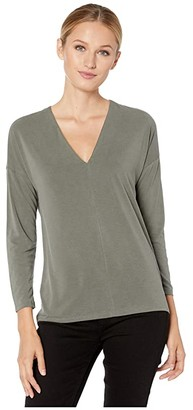 Lucky Brand Long Sleeve V-Neck Sandwash Top (Olive) Women's Clothing