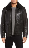 Andrew Marc Men's Anchorage Leather Aviator Jacket With Detachable Genuine Shearling Collar