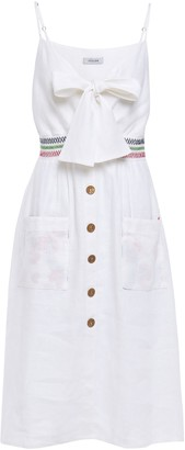 Isolda Bow-detailed Linen Dress