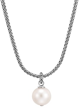 John Hardy Sterling Silver Classic Chain Cultured Freshwater Pearl Pendant Necklace, 18 + 2 extender