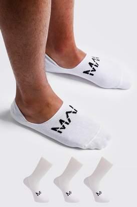 boohoo MAN Dash 3 Pack Invisible Socks