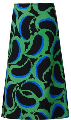 Marni Paisley Print Crepe Skirt - Womens - Green Multi