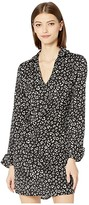 BB Dakota Cat's All Folks Leopard Printed Reverse Crepon Shirtdress with Tie (Black) Women's Dress