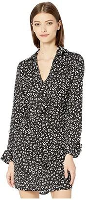 BB Dakota Cat's All Folks Leopard Printed Reverse Crepon Shirtdress with Tie (Black) Women's Dress