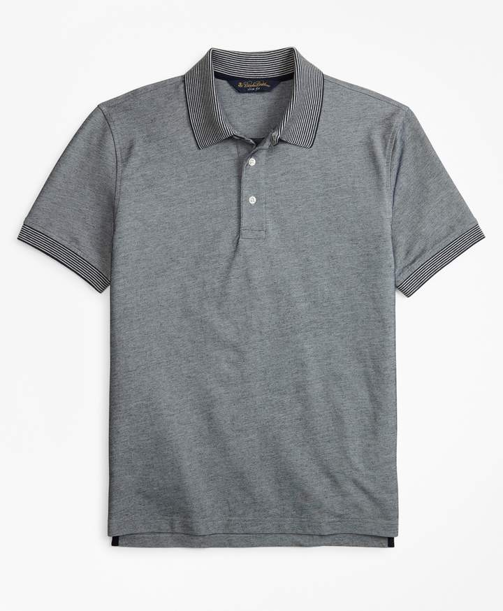 Brooks Brothers Slim Fit Cotton and Linen Stripe Collar Polo Shirt