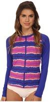 Tommy Bahama Paint Stripe Long Sleeve Rashguard Zip Cover-Up