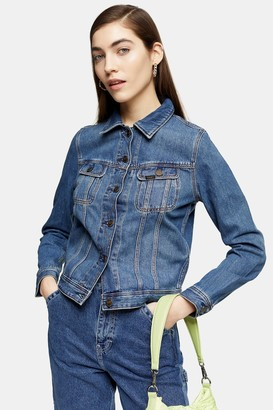 Topshop Womens Rider Denim Jacket By Lee - Mid Stone