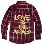 Vintage Havana Girls' Love Is the Answer Graphic Flannel Shirt - Big Kid