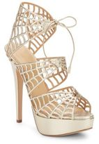 Charlotte Olympia Caught In Charlotte's Web Metallic Leather Platform Sandals