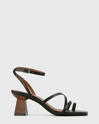 Wittner - Women's Black Strappy sandals - Kaiya Leather Strappy Sculptured Heel Sandals - Size One Size, 40 at The Iconic
