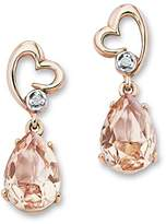 Amor Women's Drop Earrings Heart Partially gold-plated 925 Silver with White Crystal, 496551
