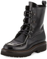 Brunello Cucinelli Monili-Beaded Leather Combat Boot, Black