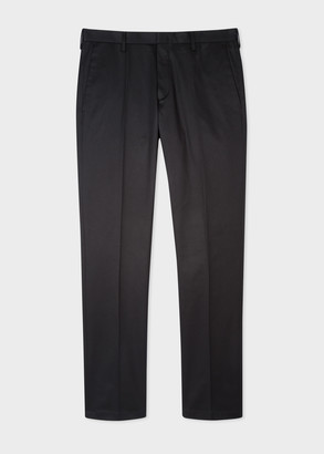 Men's Slim-Fit Black Stretch-Cotton Chinos