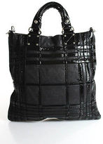 Badgley Mischka Black Leather Patent Leather Contrast Tote Satchel Handbag