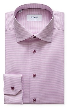 Eton Textured Solid Contemporary Fit Dress Shirt