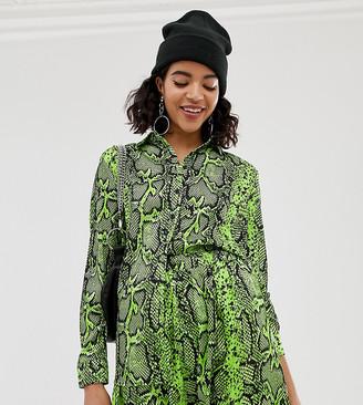 NA-KD Na Kd neon snake print blouse in green