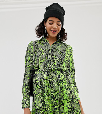 NA-KD neon snake print blouse in green