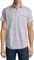 English Laundry Net-Print Short-Sleeve Sport Shirt, Blue