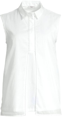 Peserico Sleeveless Vented Poplin Top