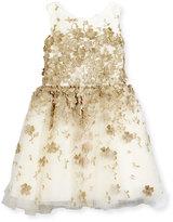 Zoë Ltd Sleeveless Metallic Leaf Party Dress, Gold, Size 7-16