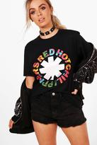 boohoo Kate License Red Hot Chilli Peppers Band T-Shirt black