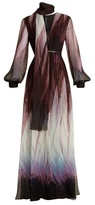 Elie Saab V-neck abstract-print silk-blend gown