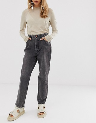 Cheap Monday high rise mom jean in salt and pepper rigid denim