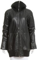 Marc Jacobs Rib Knit-Trimmed Leather Jacket