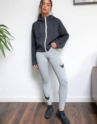 Nike leg-a-see leggings in grey with swoosh