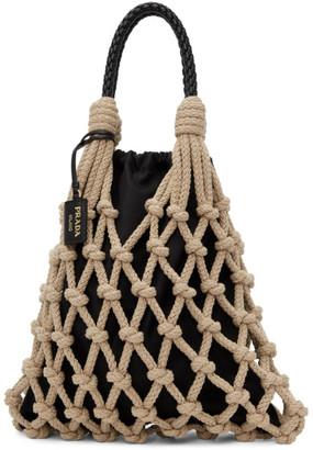 Prada Beige and Black Cord Net Tote