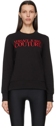 Versace Jeans Couture Black and Red Institutional Logo Sweatshirt