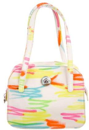 Gianni Versace Neon Printed Coated Canvas Shoulder Bag