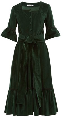 Batsheva Ruffled Square Neck Cotton Velvet Midi Dress - Womens - Green