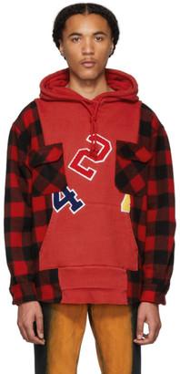 424 Red Wool Reworked Workshirt Hoodie