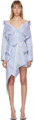 Alexander Wang White and Blue Deconstructed Shirt Dress