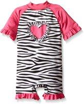 Wippette Baby Girls Zebra with Heart 1 Piece Swim
