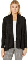 Liverpool Shawl Double Front Cardigan in Micro Suede (Black) Women's Clothing