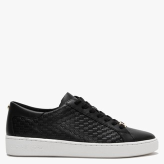 Michael Kors Colby II Black Leather Embossed Lace Up Trainers