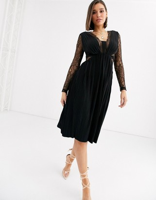 ASOS DESIGN lace and pleat long sleeve midi dress