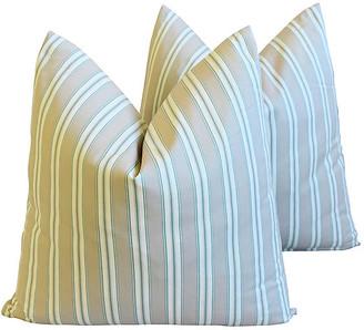 One Kings Lane Vintage French Striped Ticking Pillows - Set of 2