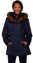 As Is Susan Graver Asymmetrical Zip Front Coat w/ Faux Fur