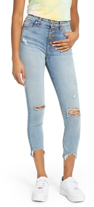 STS Blue Ripped High Waist Button Fly Skinny Jeans