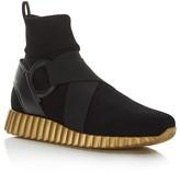 Salvatore Ferragamo Noto Gancini Belted Stretch Sock Sneakers
