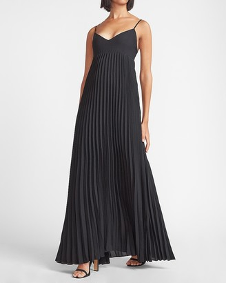 Express Pleated V-Neck Maxi Dress