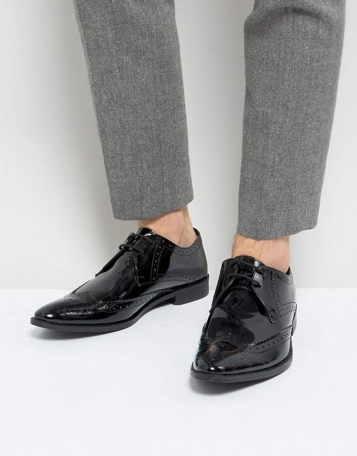 Frank Wright Brogue Derby Shoes In Patent Leather