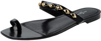 Louis Vuitton Black Leather Unchain Toe Ring Flat Sandals Size 41