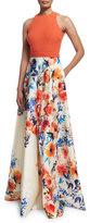 Carmen Marc Valvo Sleeveless Halter-Neck Combo Gown, Orange