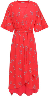 Joie Daymon B Floral-print Crepe De Chine Midi Wrap Dress
